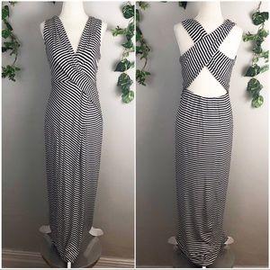 🆕 Calvin Klein Striped Faux Wrap Maxi Dress - 6
